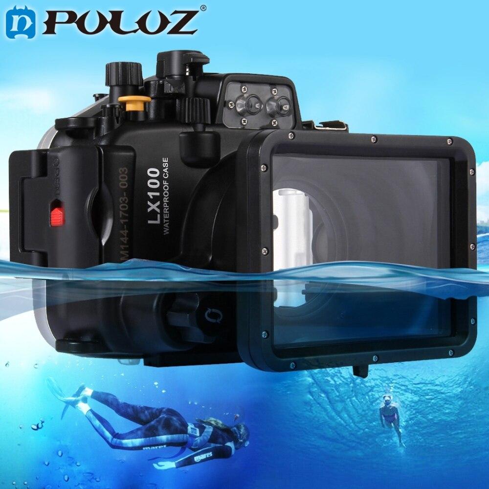 PULUZ, 40m, 128 pulgadas, 130 pies, carcasa de buceo subacuático, impermeable, cámara, funda carcasa para Panasonic LUMIX DMC-LX100 LX100