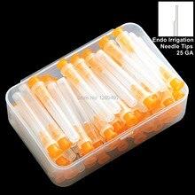 1 Box (50Pcs) Dental Endo Irrigation Needle Tip Orange 25GA End Closed One Side Vented Balf - Cut Hole Endo Syringe Tips