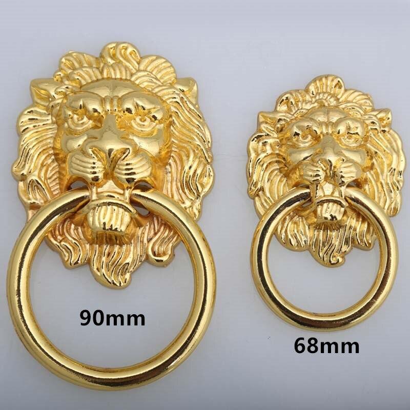 Estilo Vintage Ouro Lionhead Handle Knob Gabinete Gaveta Pull Dresser Alças Grande Almôndega Gota Anéis Botão 90mm 68mm