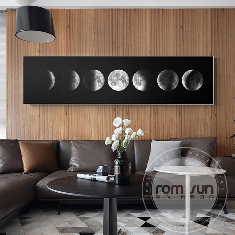 Pintura abstracta de proceso de Eclipse misterioso lienzo Negro Nórdico arte de pared blanco para sala de estar dormitorio decoración del hogar póster impreso