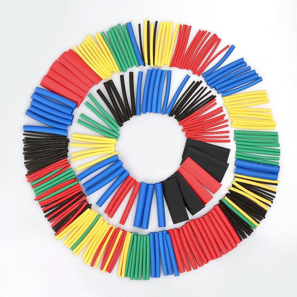 580 Uds aislamiento de tubos termorretráctiles surtido de tubos retráctiles Cable eléctrico de poliolefina relación 21 envoltura de alambre Kit de fundas de Cable