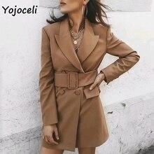 Yojoceli 2019 trendy elegant sashes double breasted blazers work day blazers jackets outerwear coats streetwear