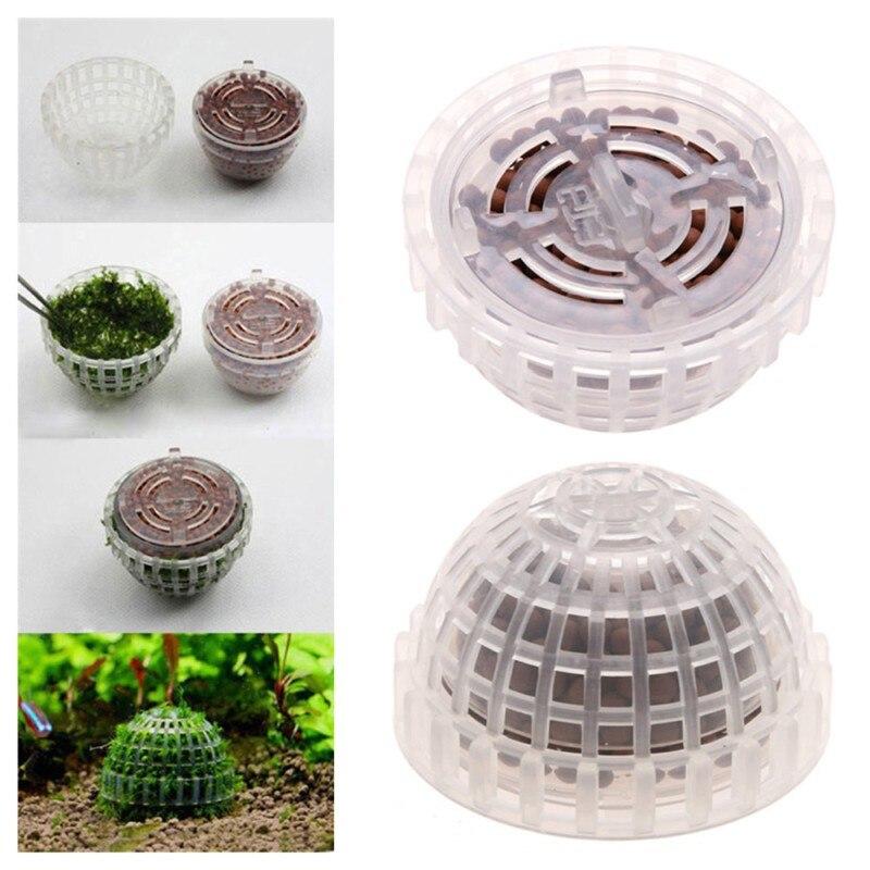 Nueva decoración de Acuarios y Peceras Media bola de musgo Filtro de plantas en vivo filtración Camarón rojo transparente Casa de cultivo de plantas vivas