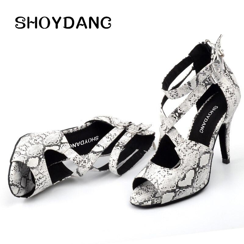 SHOYDANC, Primavera Verano, botas de baile para mujeres, zapatos de baile latino, textura de Serpiente Blanca, zapatos de baile de Salsa Samba, profesional, 6-10cm