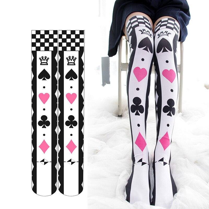 Alice in Wonderland Cosplay Stockings Summer Thin Gothic Lolita Girls Poker Card Printed Over Knee Stockings Drop Ship