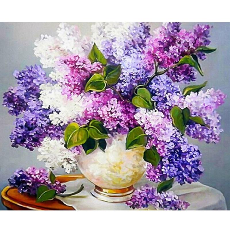 Púrpura Romance DIY pintura para colorear por número herramientas pintura de cuadro por números regalo sorpresa suministros de arte dropship
