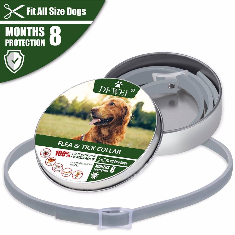 Dewel Adjustable Dog Collar Anti Flea Mosquitoes Ticks Insect Waterproof Herbal Pet Collar 8 Months Protection Dog Accessories