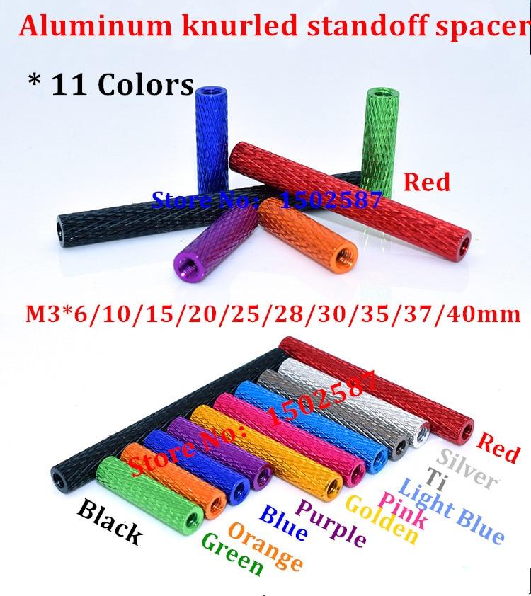 10pcs M3 Aluminum Column post 6mm 10mm 15mm 20mm 25mm 28mm 30mm 35mm Round Alloy Knurled Standoff Spacer Stud