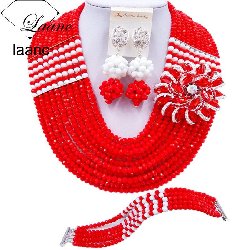 Laanc opaco rojo y blanco africano cuentas nupcial cristal joyería conjunto mujeres nigeriano boda collar C22P048