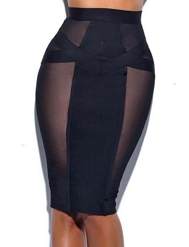 2019 New Women Hot Sexy Mesh Black See Through Short Mini Style Summer Good Elastic Stretch Bandage Skirt Dropship HL776