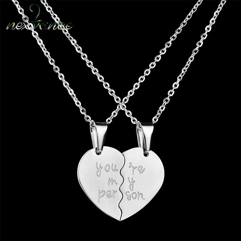 Nextvance duas metades coração você é minha pessoa carta colar 316l aço 3 cor casal colar para o presente do amante bijoux