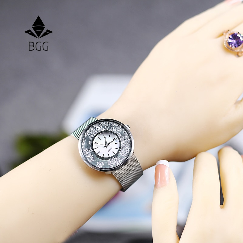 Hot Fashion Stainless Mesh Strap Watch Women Crystal Dial Poplular BGG Brand wristwatches Ladies Gold Silver Dress Quartz-Watch