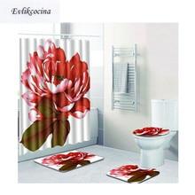 Free Shipping 4pcs Red Flowers Banyo Paspas Bathroom Carpet Toilette Bath Mat Set Non Slip Pad Tapis Salle De Bain Alfombra Bano