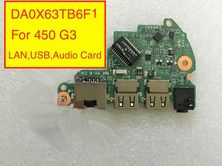 Tarjeta de sonido perfecta para HP 450 G3 Audio LAN USB Board DA0X63TB6F1 DA0X63TB6F0