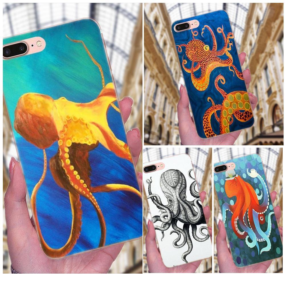 Style Design Funny Cartoon Octopus Fundas For Samsung Galaxy Note 5 8 9 S3 S4 S5 S6 S7 S8 S9 S10 mini Edge Plus Lite