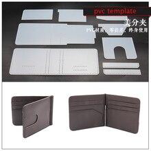 DIY leather craft kaarthouder geld clip portemonnee stansen pvc template naaien patroon