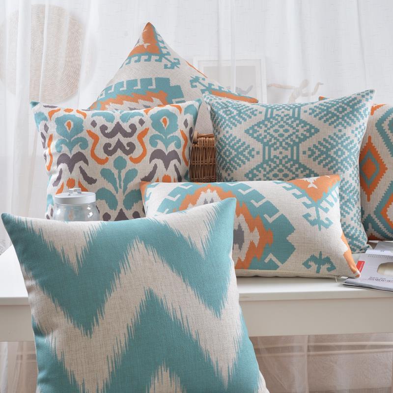 Almohada geométrica nórdico original cojín con diseño abstracto cojines de lino cojines de cintura almohadas decorativas para el hogar cojines de sofá