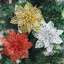 Fleurs artificielles creuses de 10 pièces   Magnifique ornement à accrocher sur larbre de noël, décorations pour mariage noël saint-valentin