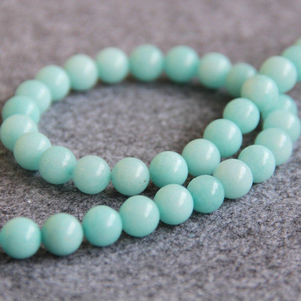 Ожерелье и браслет из натурального светло-синего камня, круглые бусины халцедон, бисер «сделай сам», 15 дюймов, 2019