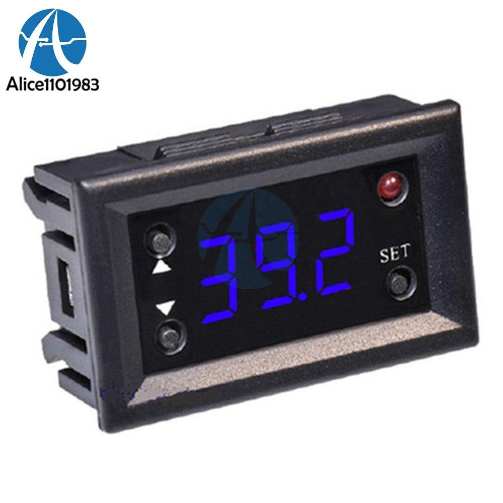 Pantalla azul W1218 DC 12V Módulo de termostato pantalla Digital controlador de temperatura Control Sensor impermeable-20 ~ 100 grados