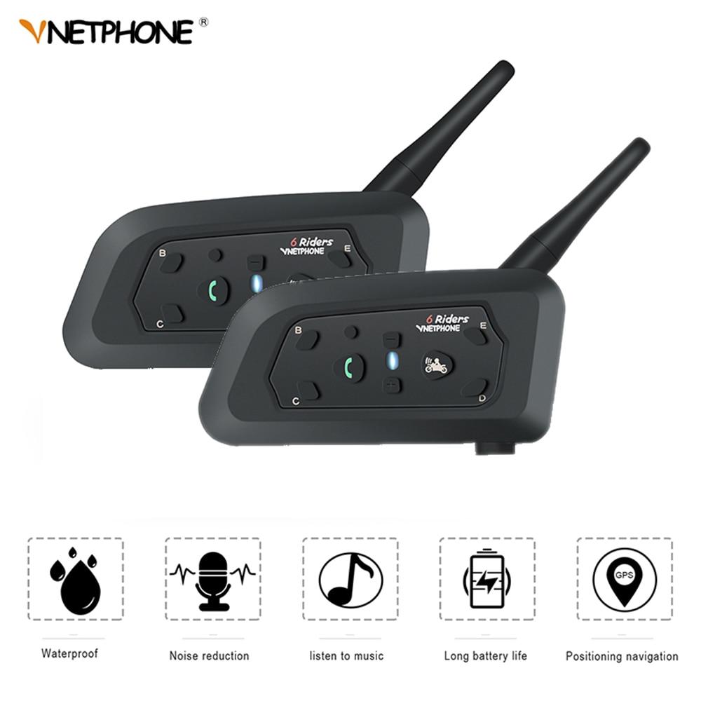 VNETPHONE 2 Set V6 Bluetooth Intercom Motorcycle Helmet Speaker 1200m Interphone Moto Accessories Headset Support Wireless Bt-s2