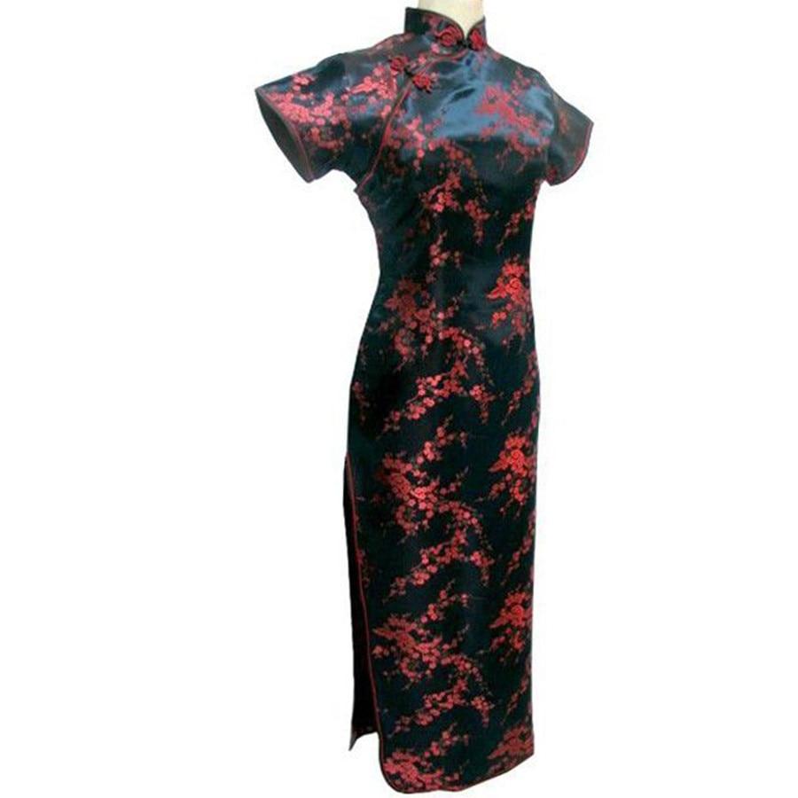 Cheongsam Qipao negro-rojo Vestido tradicional chino largo de satén para Mujer talla S M L XL XXL XXXL 4XL 5XL 6XL