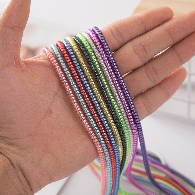 1,5 M plateado Color TPU primavera funda protectora móvil Tablet espiral cordón Protector para celular cargador auriculares cordones