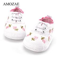Bébé filles chaussures blanc rose Floral brodé semelles souples chaussures Prewalker marche enfant en bas âge décontracté enfants chaussures pour la livraison directe