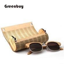 الموضة الإبداعية اليدوية نظارات صندوق خشبي الجلد نظارات صندوق عالية الجودة خشبية الجلد الجوف التدريجي مربع النظارات الشمسية BambooWoodBox حقيبة