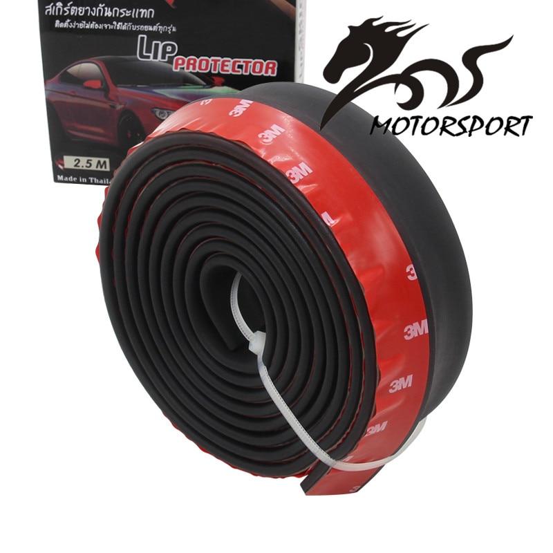 Goma suave negro parachoques delantero labio Kit Splitter cuerpo Spoiler válvula Chin parachoques tira de coche Exterior 2,5 m