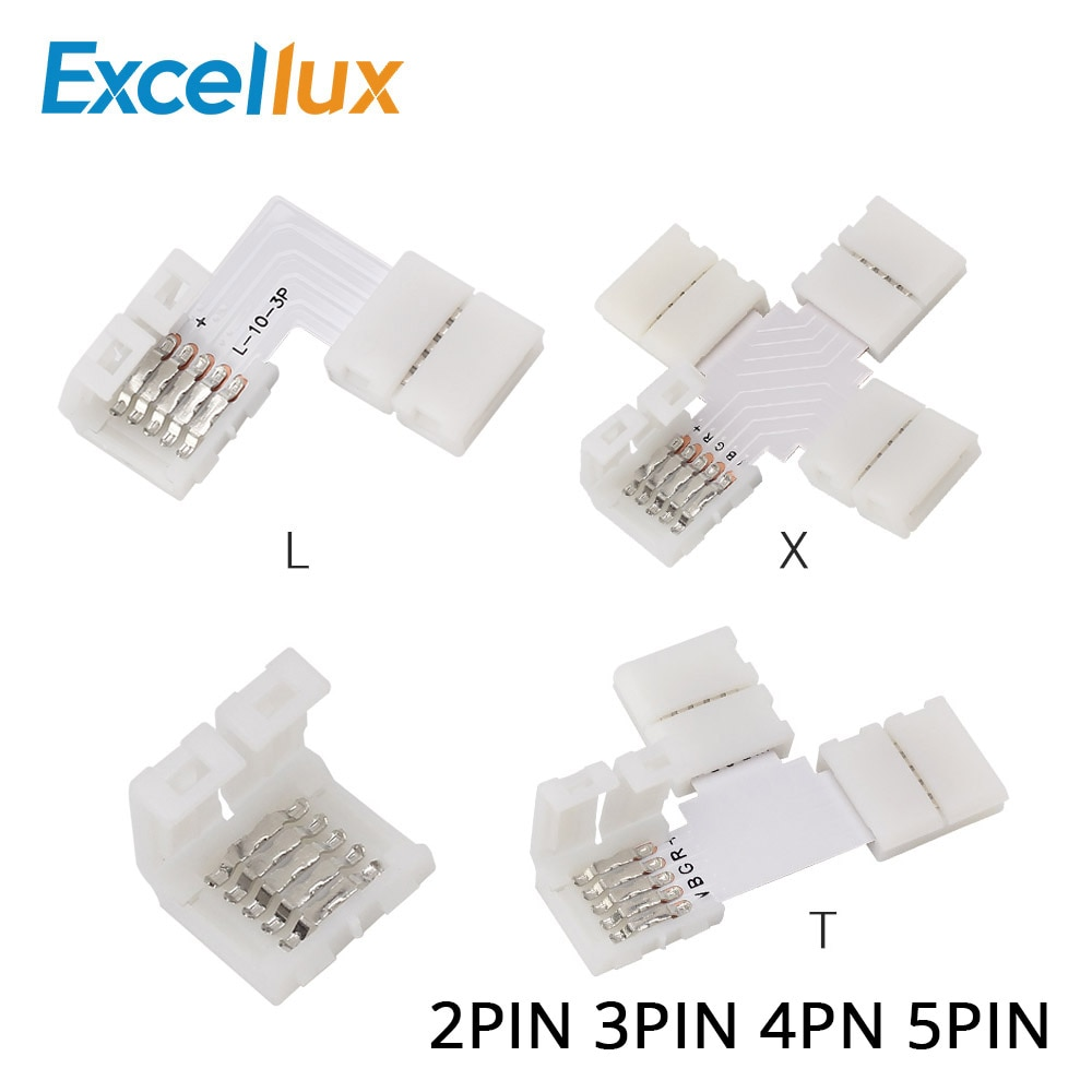 5pcs 2PIN 3PIN 4PIN 5PIN Free Soldering LED Connector 10mm L / T / X Shape Corner connector for LED Strip Light RGB RGBW RGBWW
