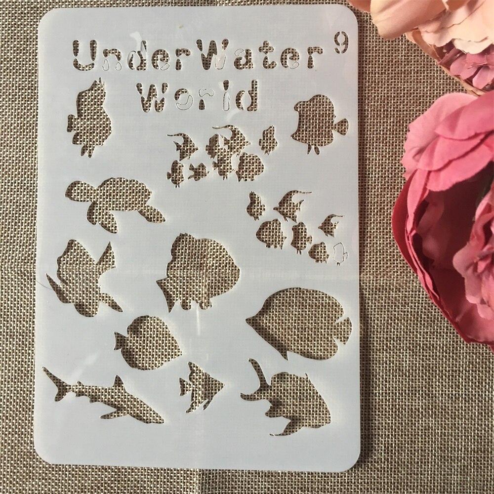 1 piezas 20x14cm subacuática peces mundo DIY capas pintura de pared Scrapbook Coloring relieve álbum plantilla decorativa