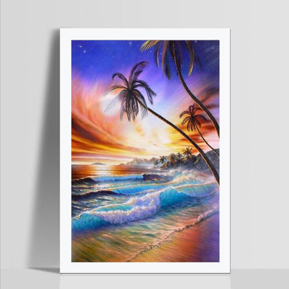 5D hermosa Hawaii paisaje bordado de cuadros de pegado de maravillosos colores de coco Grove Beach pintura diamante