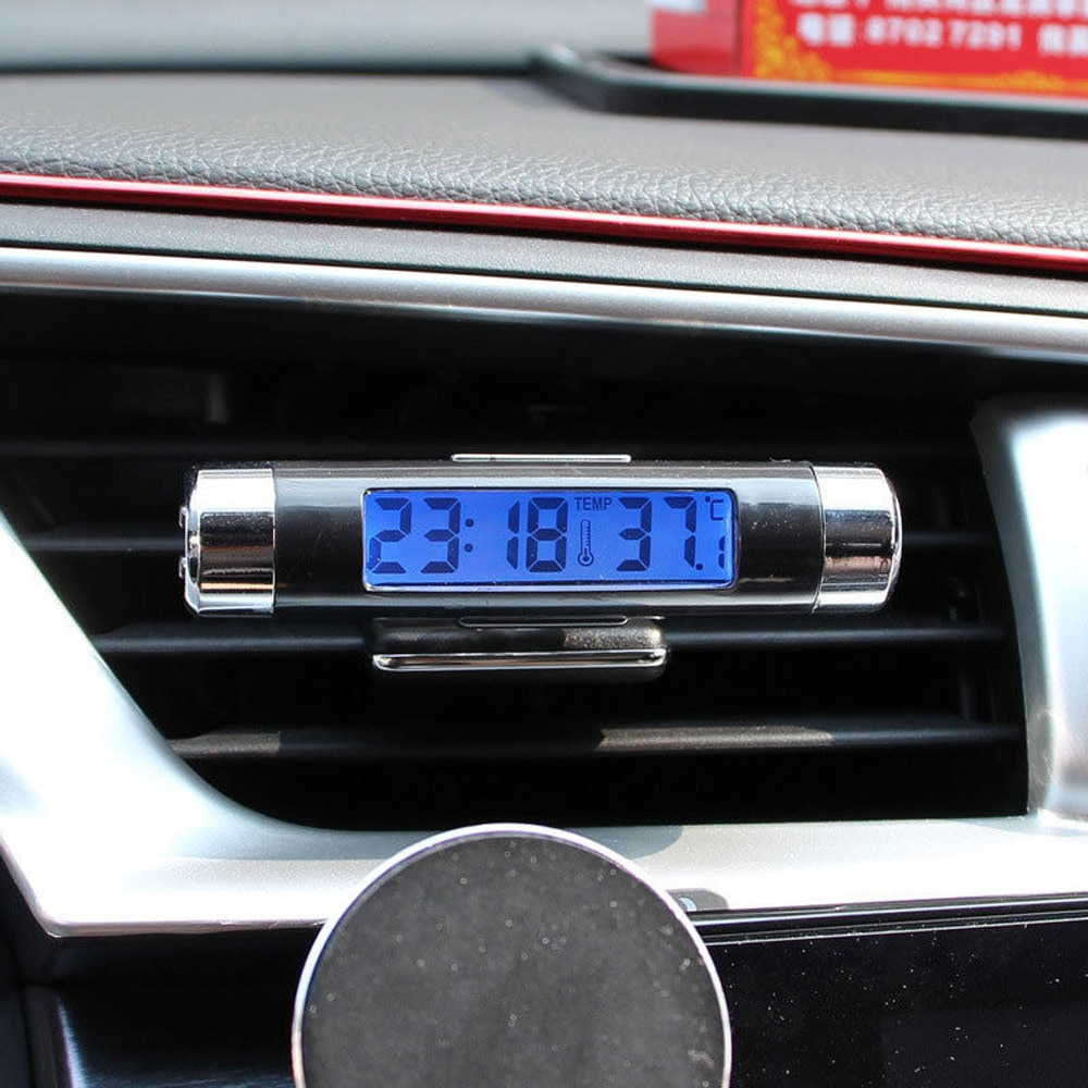 Automotriz hogar azul calendario retroiluminado coche reloj termómetro accesorios Mini LCD Digital Kits 2 en 1 caliente útil