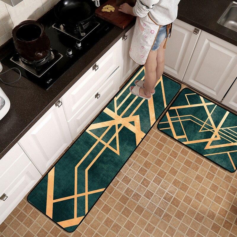 Alfombra antideslizante de lujo de estilo nórdico con líneas doradas para cocina alfombra protectora de suelo de madera alfombra para dormitorio y pie de cama alfombra de felpa para puerta