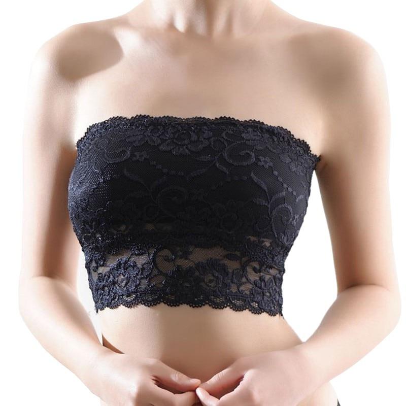Feminino sexy sem alças de topo de colheita sutiã bandeau tubo de peito de renda casual cultura boob topo