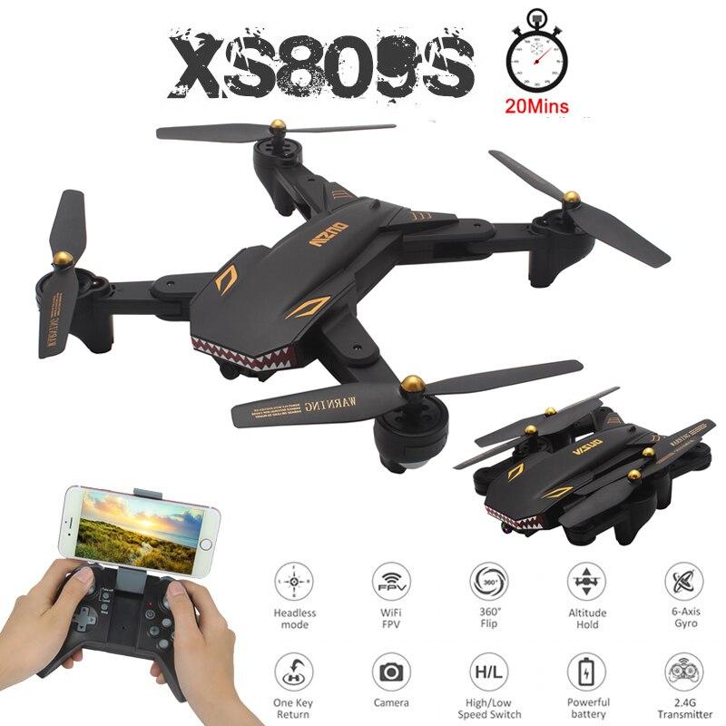 Профессиональный складной мини-Дрон VISUO XS809S для селфи с камерой 2 Мп HD WiFi FPV широкоугольный XS809HW Радиоуправляемый квадрокоптер, игрушечный ве...