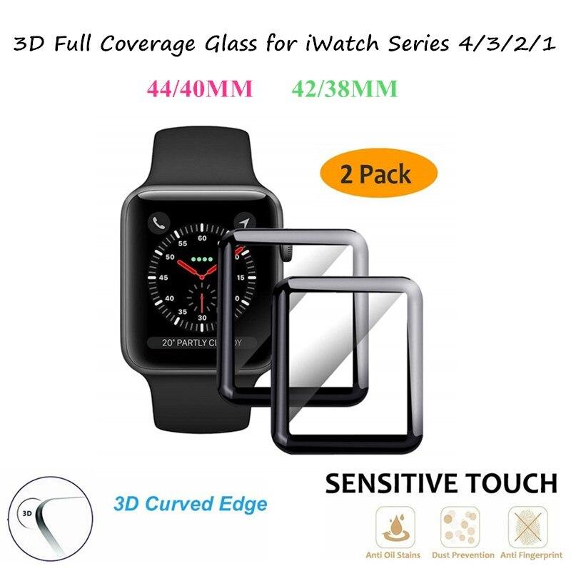 2 uds por lote para Apple Watch 44MM 40MM serie 4 3 2 1 3D película de vidrio de cobertura total curvada para iWatch 42/38MM Pantalla de vidrio templada