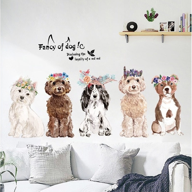 Rushed familia de perros pegatinas de animales para la habitación de los niños decoración del hogar de la pared de fondo de la etiqueta de Pvc Avión de dibujos animados Mural puerta papel pintado