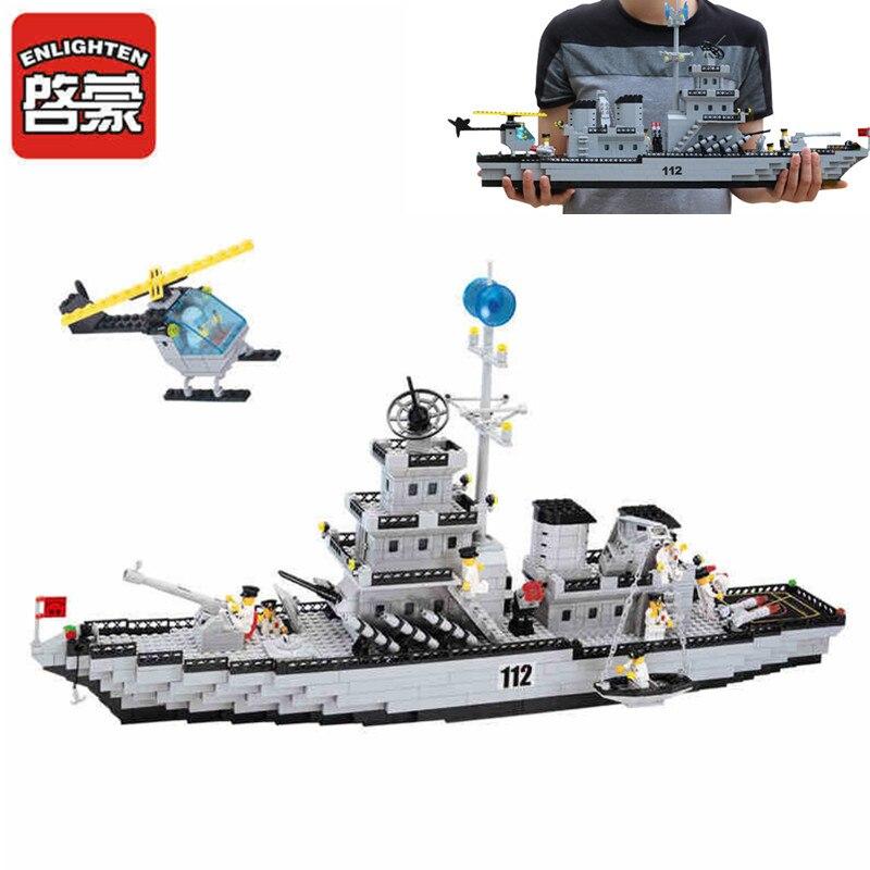 Enlighten 970 Uds serie militar Battle Cruiser bloques de construcción DIY ladrillos de montaje juguetes educativos para niños compatibles