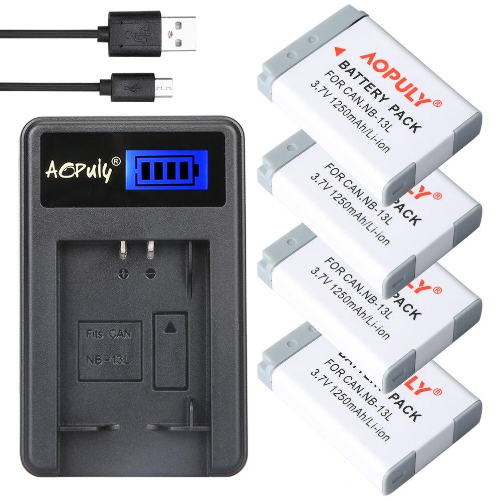 4pcs NB-13L NB13L Digaital baterias + USB Carregador de LCD para Canon PowerShot G5 X G5X G7 X G7X G7 X Mark II G9 X G9X SX720 HS