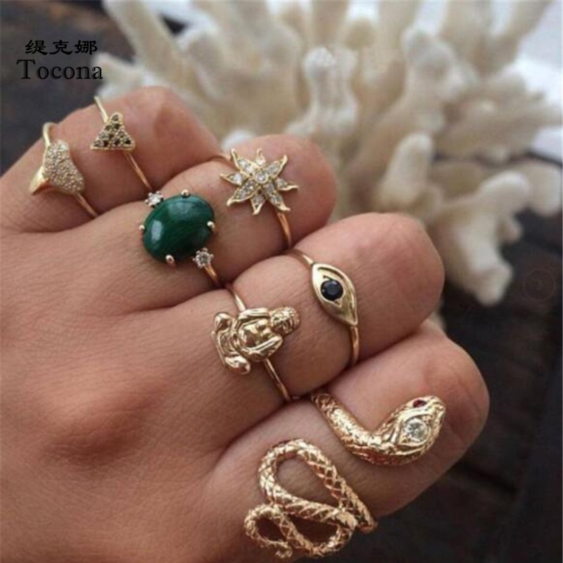 Набор Колец Tocona, 5 шт./компл., змейка, зеленый, овальный, с кристаллами, золотистого цвета Богемские цветы, в форме сердца, ювелирные изделия дл...