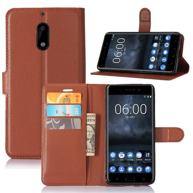 Funda de cuero con tapa para Nokia 6 2017 para Nokia 6 TA-1021 TA-1033 Funda de protección TPU con tarjetero