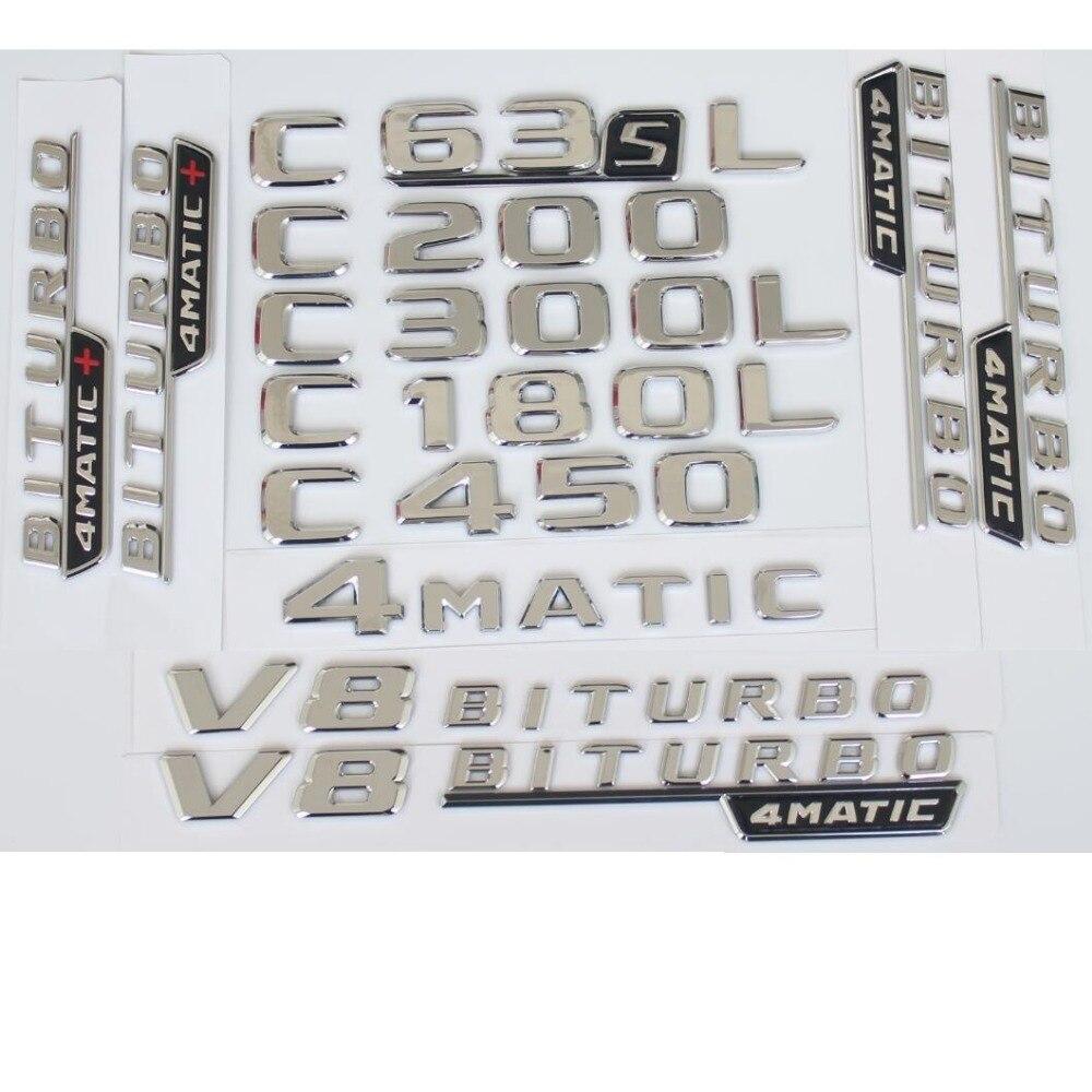 Para mercedes benz 2017 2020 c43 c63 c63s amg c200 c220 c300 c320 c350 c400 4matic tronco cromado emblema letras emblema