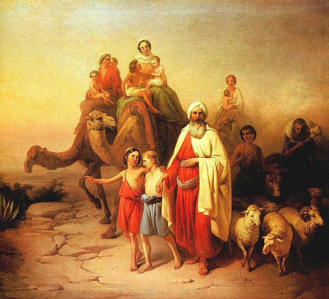 Pintura de Arte Superior-el viaje de la Santa Biblia Abraham de Ur a Canaán 1850 imprimir pintura al óleo sobre lienzo-buena calidad
