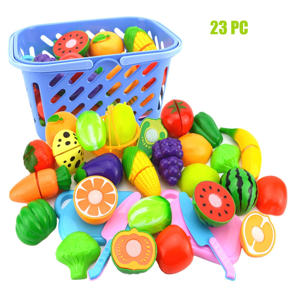 Kitchen Toys Kids Pretend Role Play Kitchen Fruit Vegetable Food Toy Cutting Set Kids Gift Toy For Baby Birthday Gifts 2020