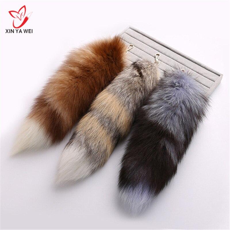 Women 100% Real Fox tail Pendants Keychain 25cm Fur Pom Pom Key Chain Bag Key Ring Car Key Holder best Gift Jewelry