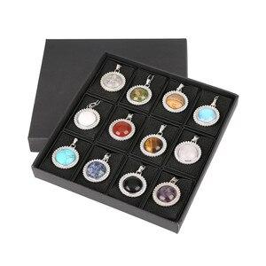 ASHMITA 12pc Natural Stone Purple Pink Quartz Tiger Eye Crystal Beads Necklace & Pendant Water Drop Stainless Steel Women