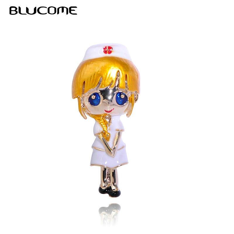 Blucome Cartoon Figure Nurse Shape Brooches For Women Girls Enamel Cosplay Nurse Suit Clothes Decorations Alloy Lapel Hijab Pins