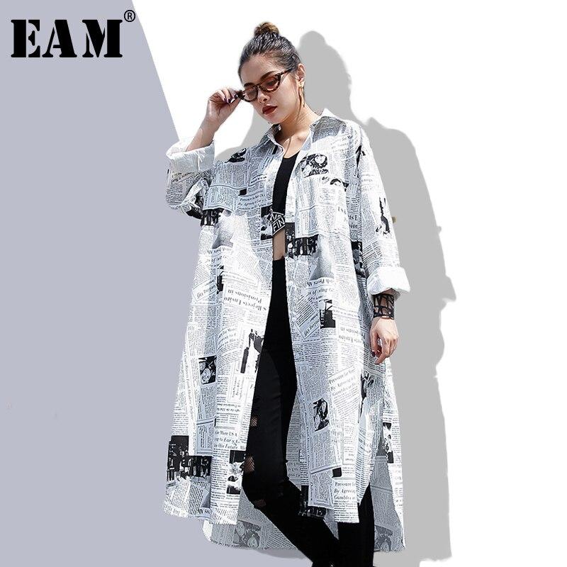 [EAM] 2020new primavera otoño solapa manga larga dibujo en blanco Irregular suelto talla grande camisa mujer blusa moda marea JF008